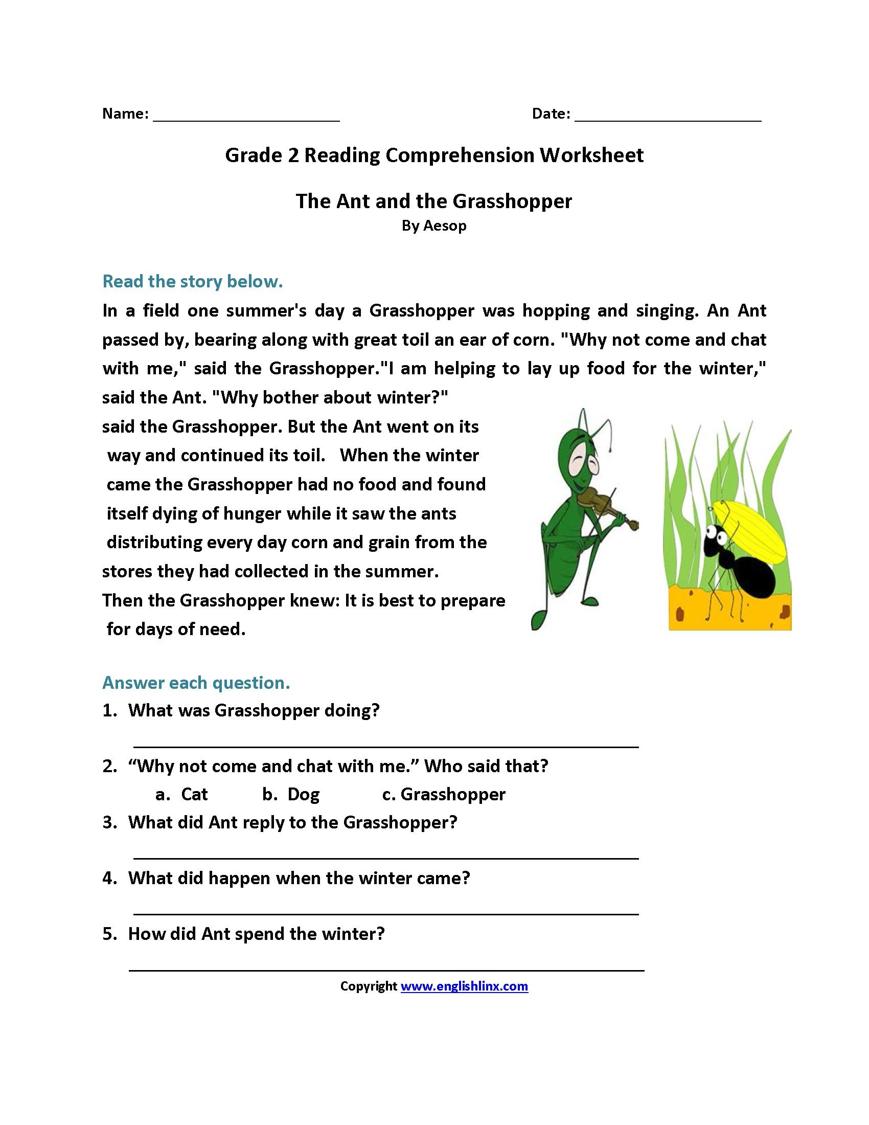 9 New Reading And Comprehension Worksheets For Grade 2 Di
