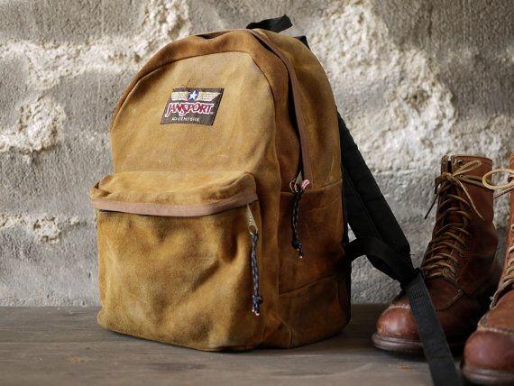 vintage Jansport adventure suede leather backpack usa by john dear ...