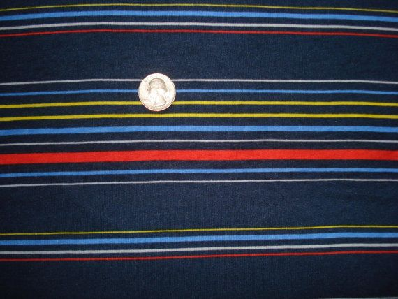 Navy red and yellow multi  stripe on cotton poly by nrfabrics, $7.50