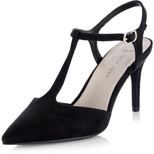 b7952b4aaaf New Look Wide Fit Black Suedette T-Bar Pointed Heels (£20) ❤ liked on  Polyvore featuring shoes
