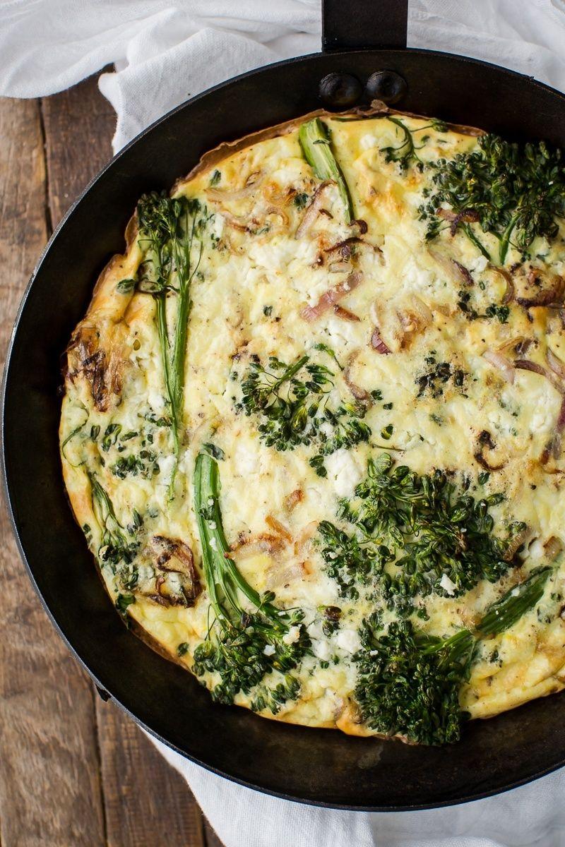 Baby Broccoli Frittata with Feta #baconfrittata