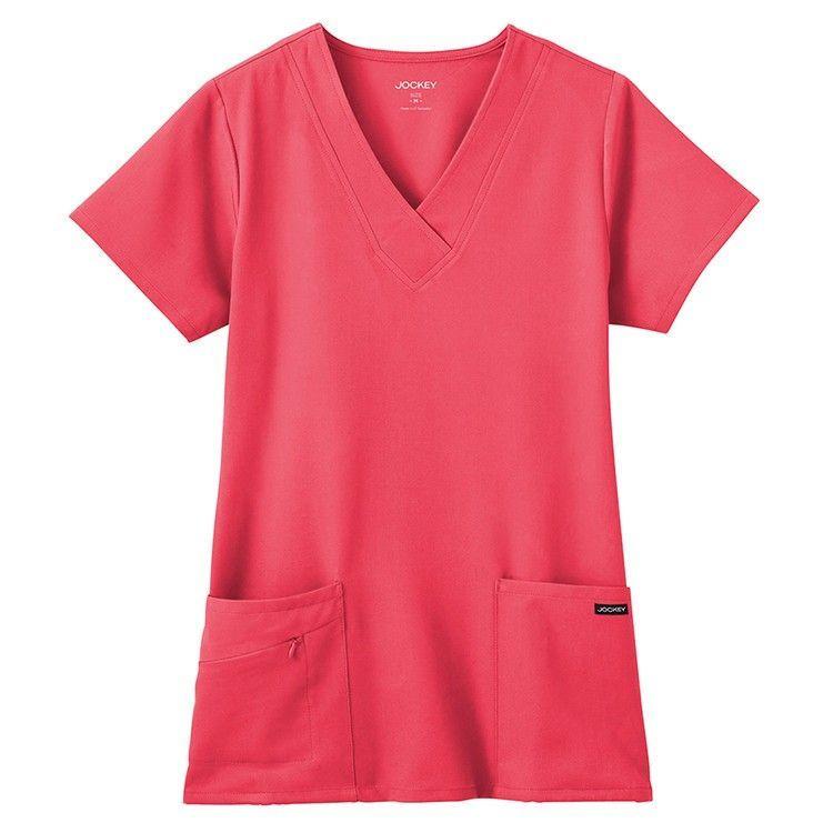 Women's V-neck Stretch Zipper Pocket Top - Hibiscus