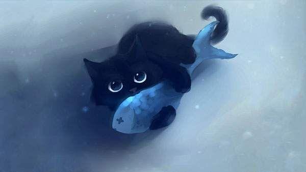 Pin By 萌衣 荒谷 On A 進行資料 Cute Cat Illustration Black Cat Painting Cat Artwork