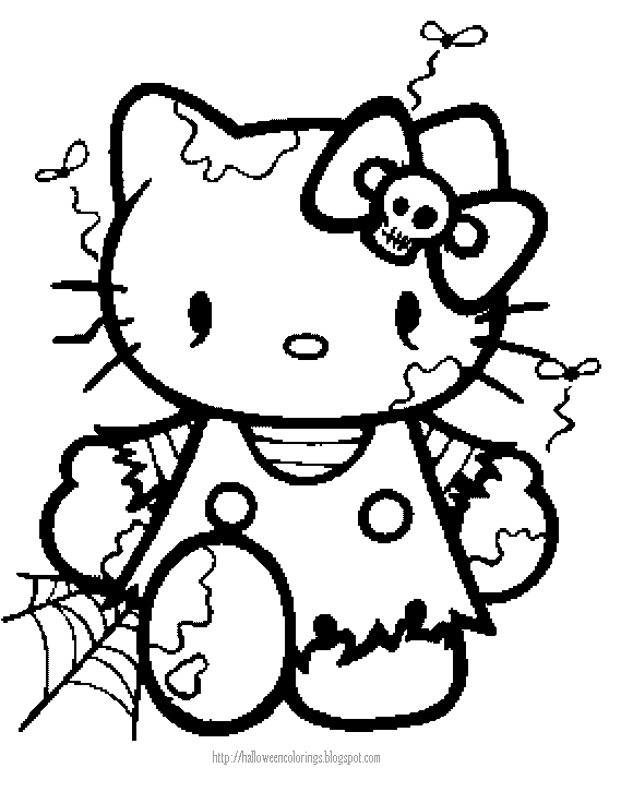 Halloween coloring page of hello kitty as a zombie for Cute halloween coloring pages free