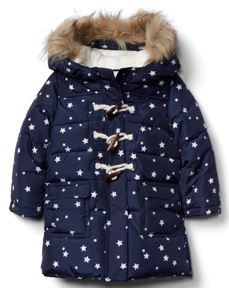 a6b91856a794 Baby Gap Girl s Navy Star Fur Trim Duffle Winter Jacket Coat Size 18 ...