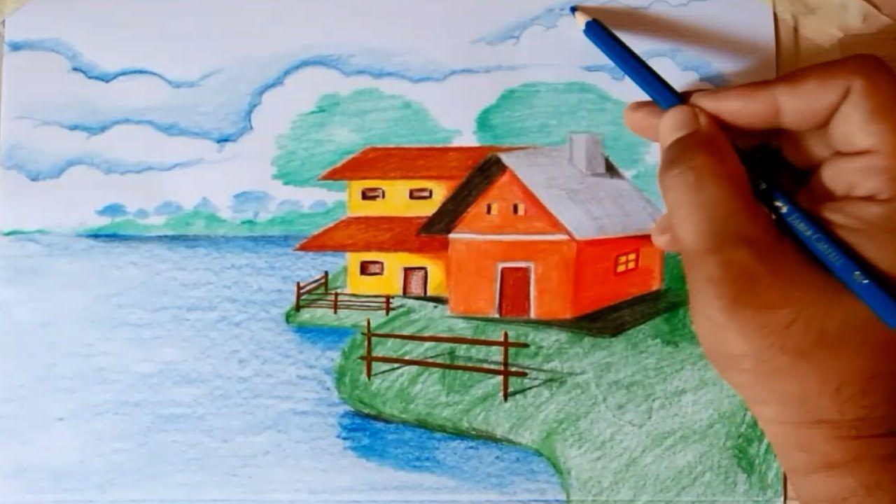 Cara Menggambar Pemandangan Di Pedesaan Tepi Danau