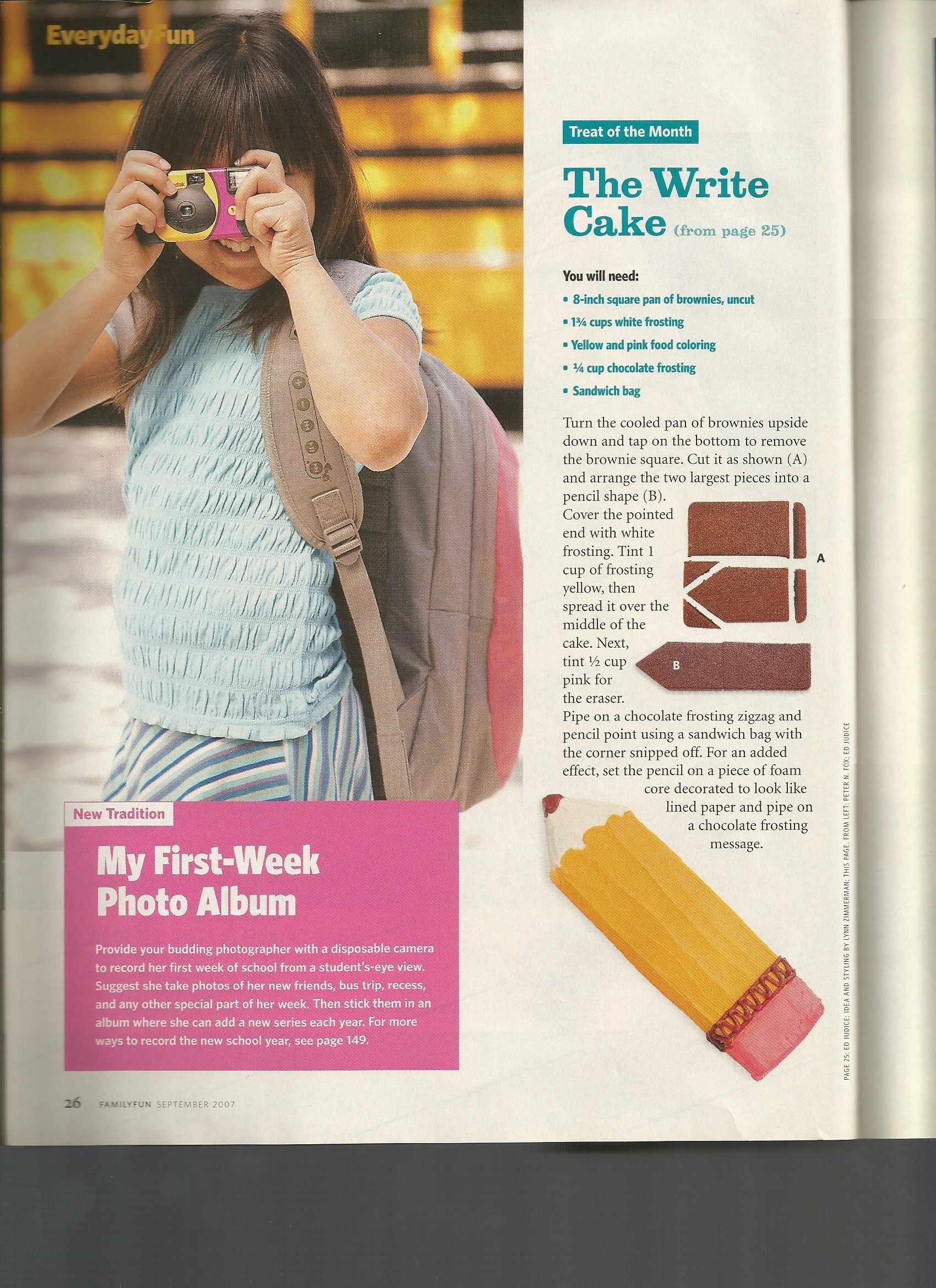 Directions For Pencil Cake From Family Fun Magazine September 2007 Issue