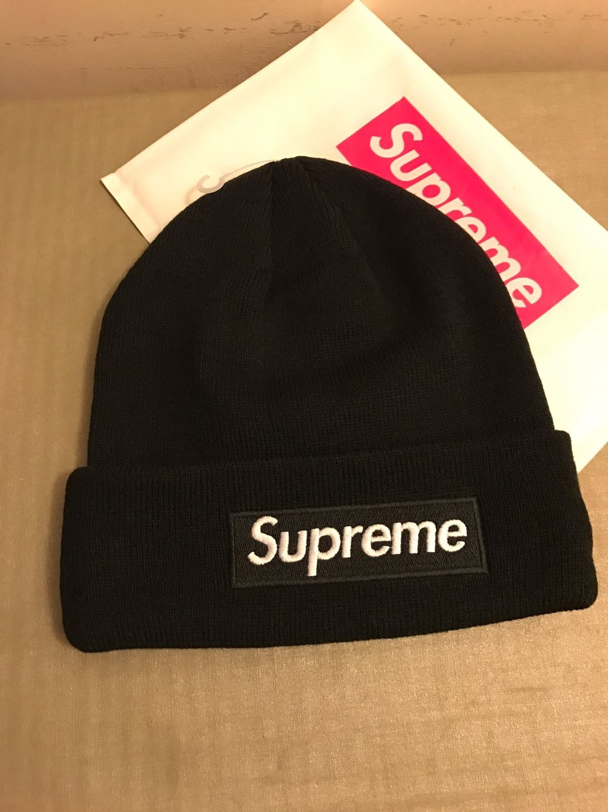 Supreme 2015 F W Box Logo Era Winter Hat Beanie Black  66f37b06857