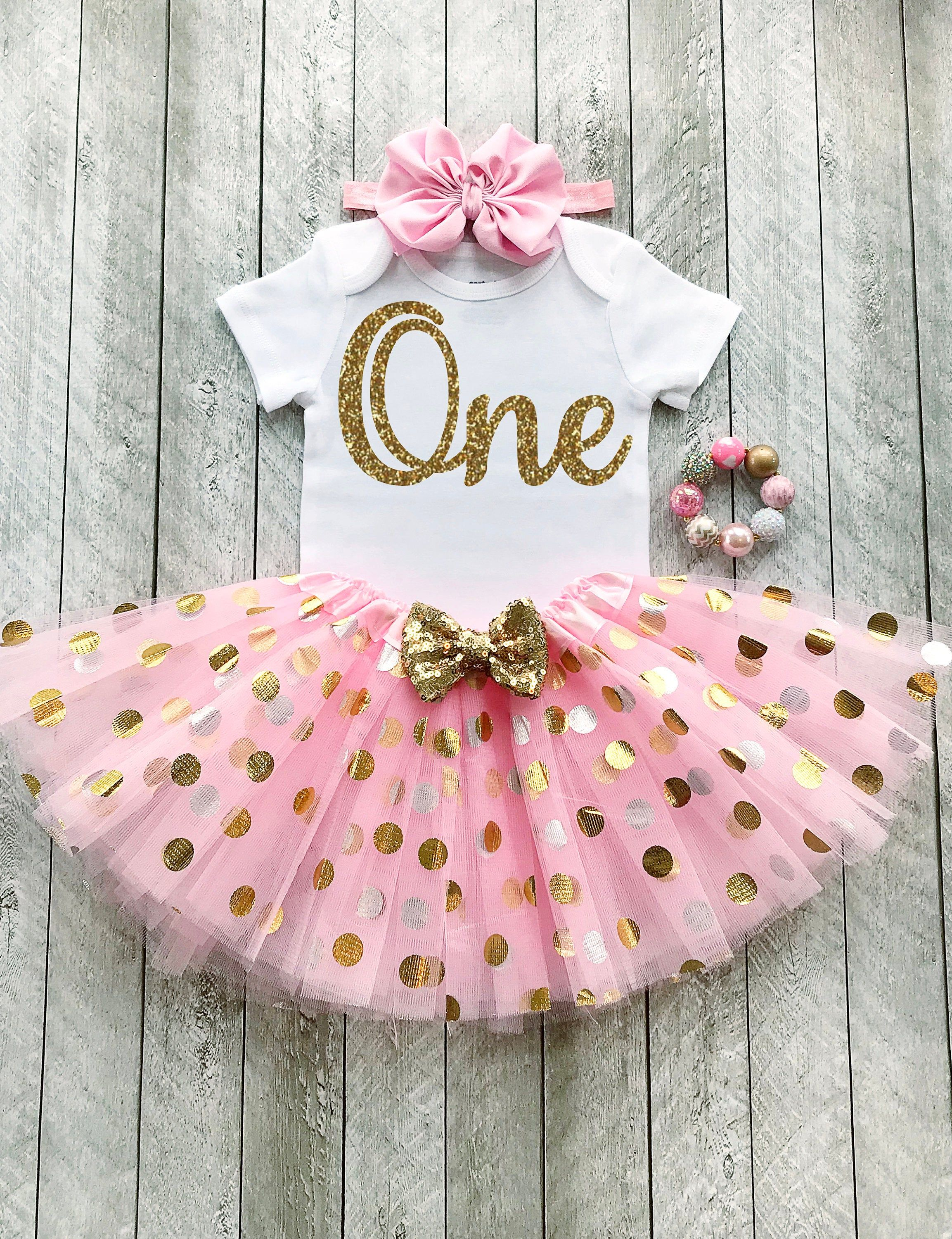Pink And Gold First Birthday Outfit Pink And Gold Tutu One Etsy Gold First Birthday Outfit Baby Girl 1st Birthday Birthday Girl Outfit