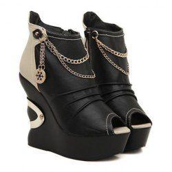 Moda Cor Bloco e PU Couro com Cadeia Projeto Salto de Cunha Sapatos das Mulheres