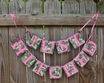 Camo Wedding Decorations   Camo and Fucshia Just Hitched Banne r Wedding Camo Wedding Banner ...