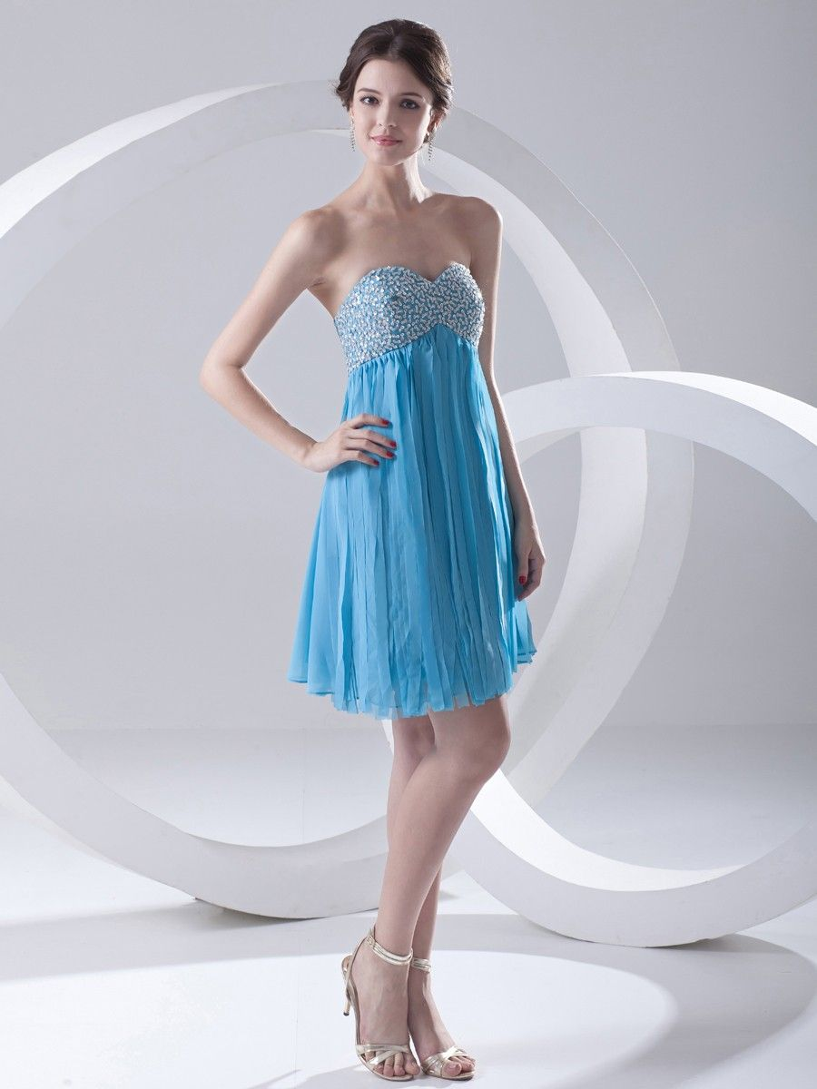 Chiffon Strapless Mini/Short Sequin Graduation Dress at nextdress.co ...