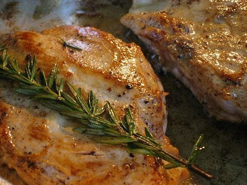 Pork chops with White Wine Sage and Rosemary