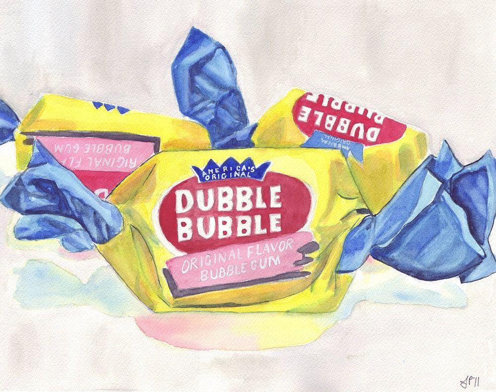 Watercolor Painting Illustration Art Dubble Bubble Gum Candy ...