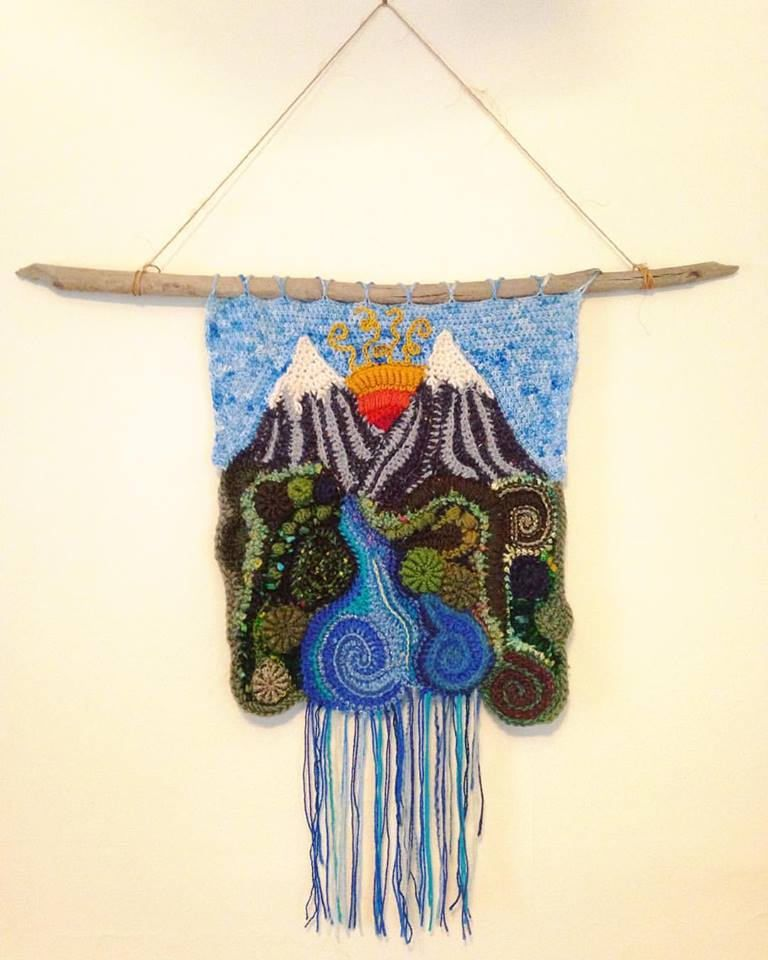 Mountain Sunrise Freeform Crochet Wall Hanging Ooak Yarn Painting