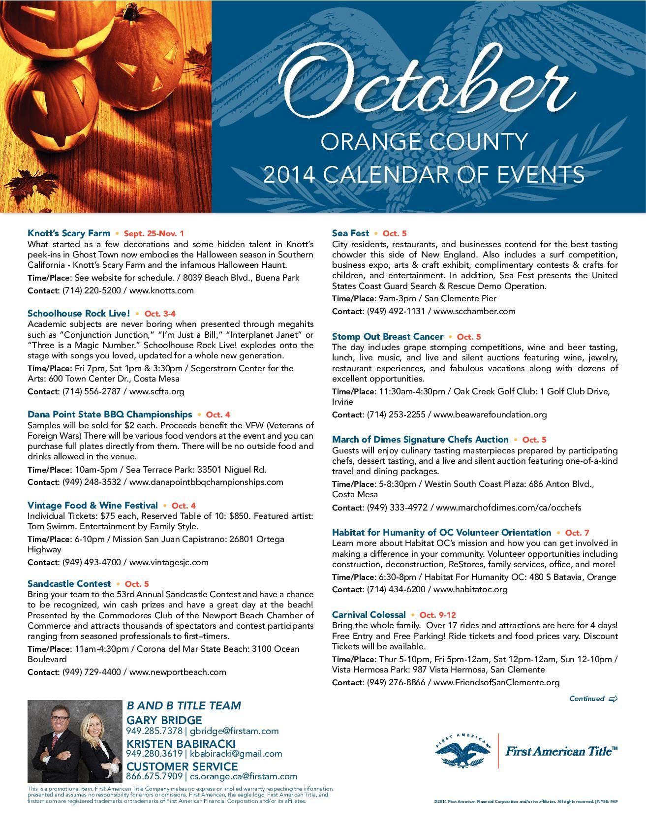 Orange County 2014 Events | Scary farm, Event calendar, Event