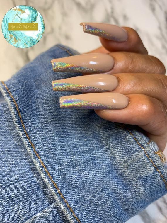Holo Side Tip Set Holo Nails  Fake Nails  Press Ons  Press   Etsy