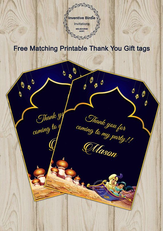 Aladdin Invitation Aladdin Birthday Invitation Aladdin Invites