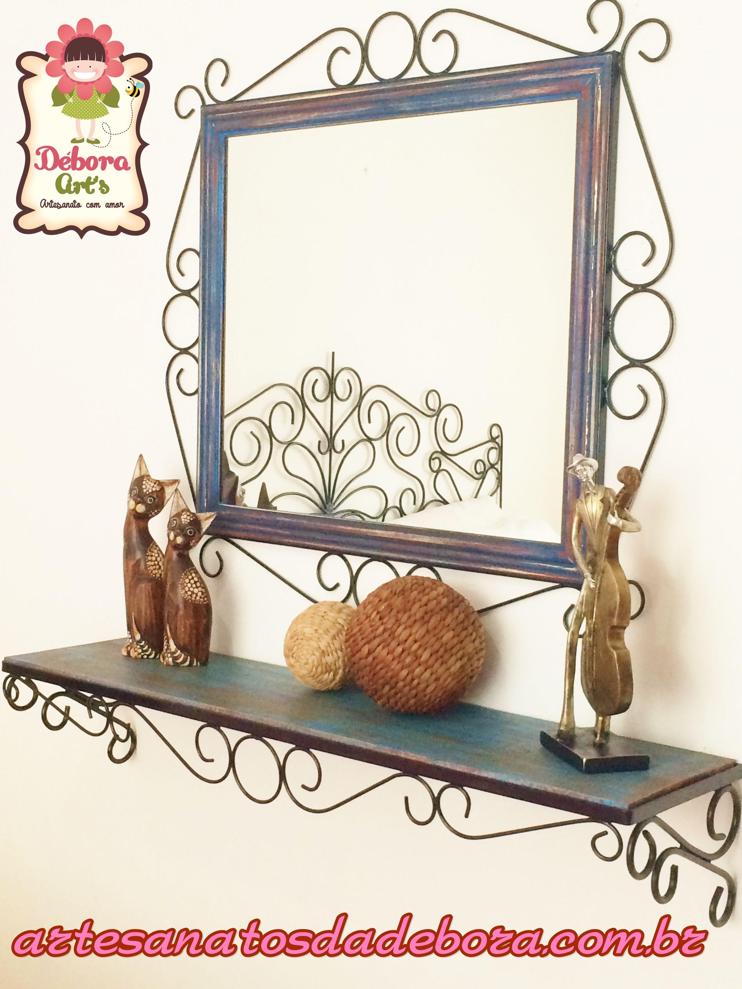 Wrought iron bathroom space saver - Espelho Aparador Www Artesanatosdadebora Com Br