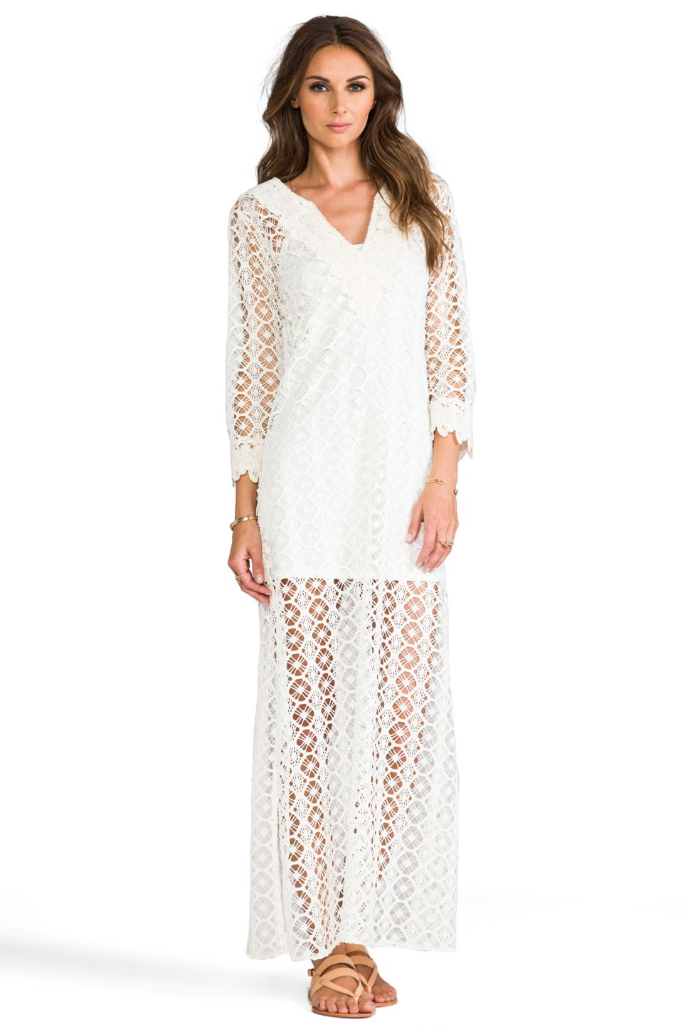 Tbags losangeles crochet long sleeve maxi dress in white sewing