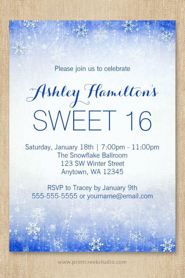 Vintage Sweet 16 Winter Wonderland Invitations | Sweet 16 birthday ...