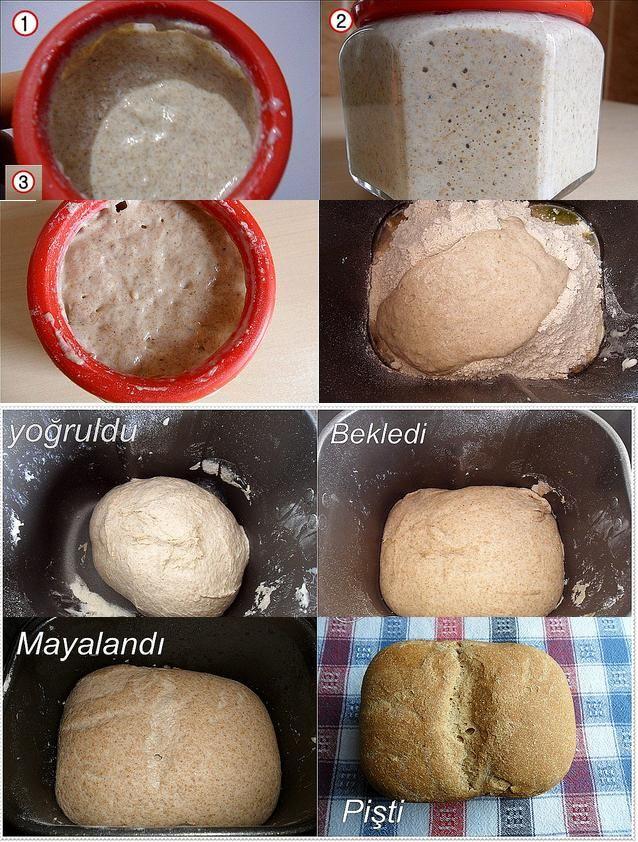 ekşi mayalı ekmek tarifi /Ekşi yoğurtla mayalanıyor