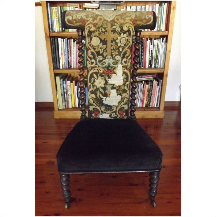 ANTIQUE Victorian PRIE DIEU PRAYER CHAIR Tapestry To