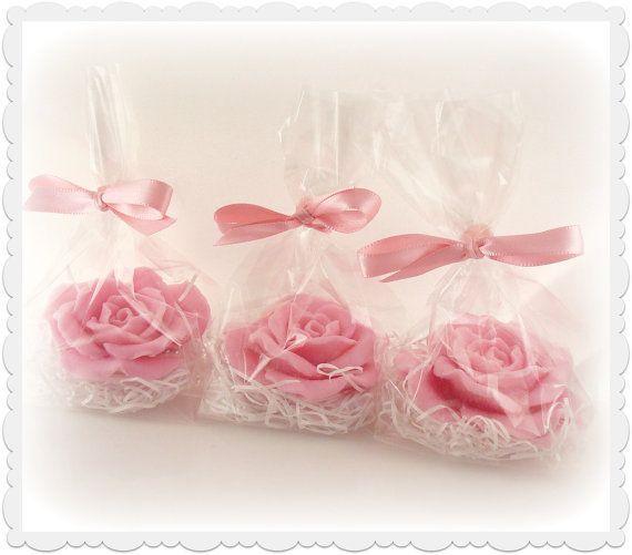 10 Bridal Shower Favors   Pinks  Soap Favors   Decorative Hearts U0026 Roses