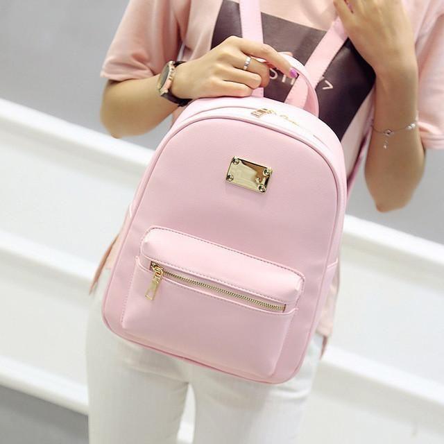 Fashion Womens PU Leather Travel Book School College Bag Purse Mini Backpack New
