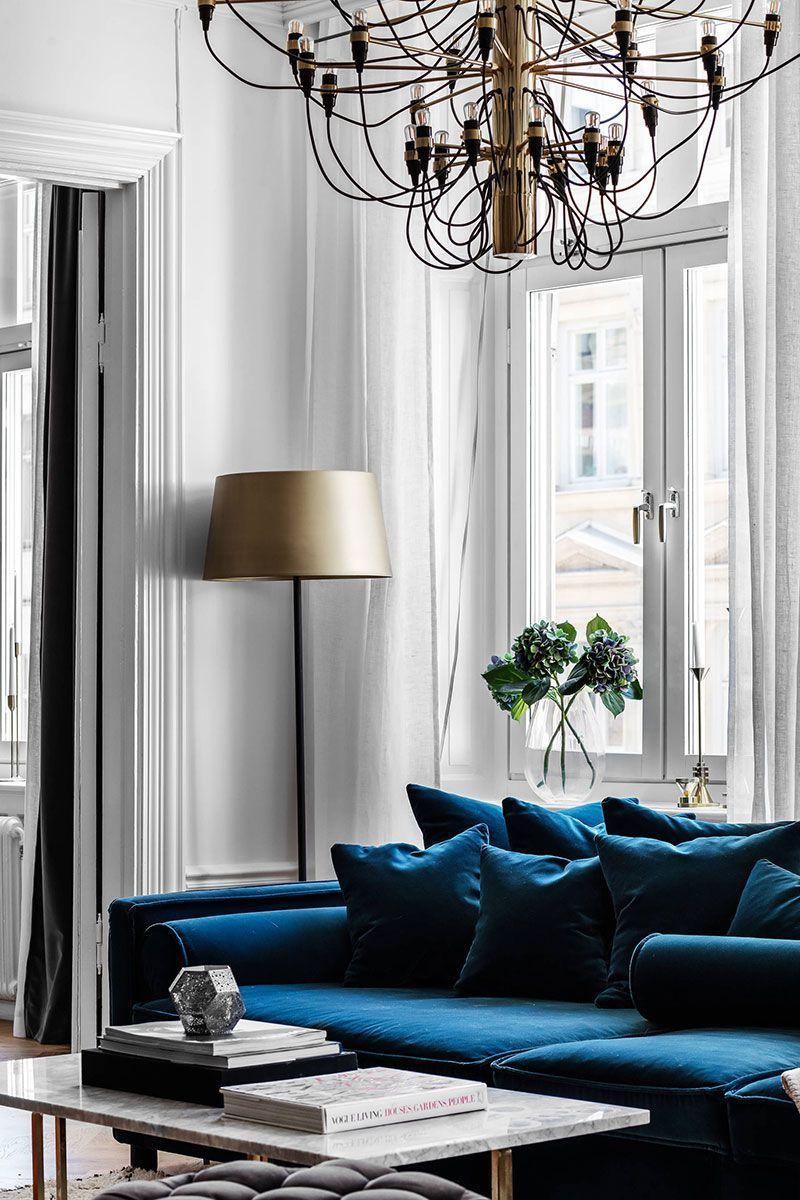Blue Velvet Sofa And Bold Bedrooms Modern Apartment In Stockholm Design Home De Blue Sofas Living Room Velvet Sofa Living Room Blue Velvet Sofa Living Room