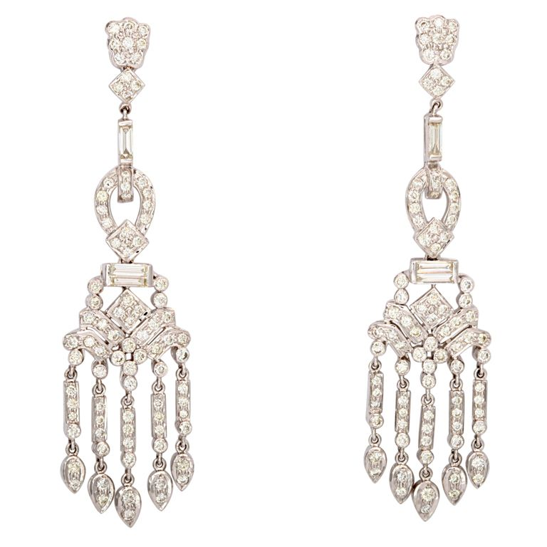 Dangling diamond gold chandelier earrings diamond chandelier dangling diamond gold chandelier earrings 1stdibs aloadofball Images