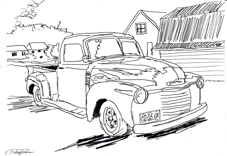 Original Drawing.Vintage Old Car. Wall decor,pen,felt pen