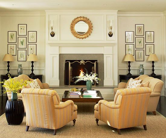 Furniture around fireplace on pinterest - Large living room furniture placement ...