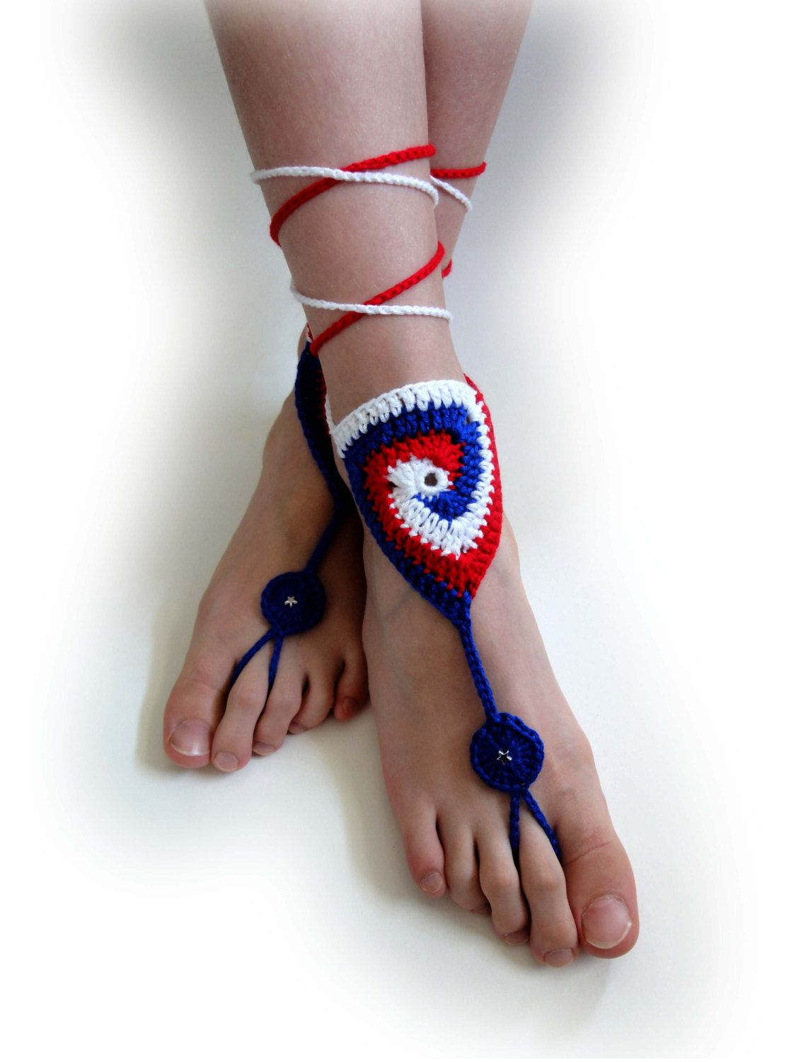 4th of July Barefoot Sandals July 4th Sandals Patriotic Barefoot Sandals Crochet Barefoot Sandals