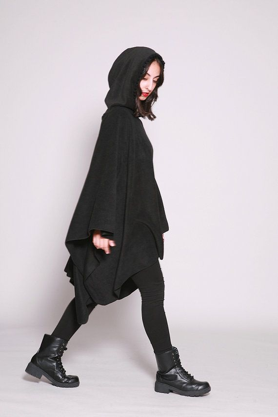 c6911290eaa6 Black Hooded Poncho