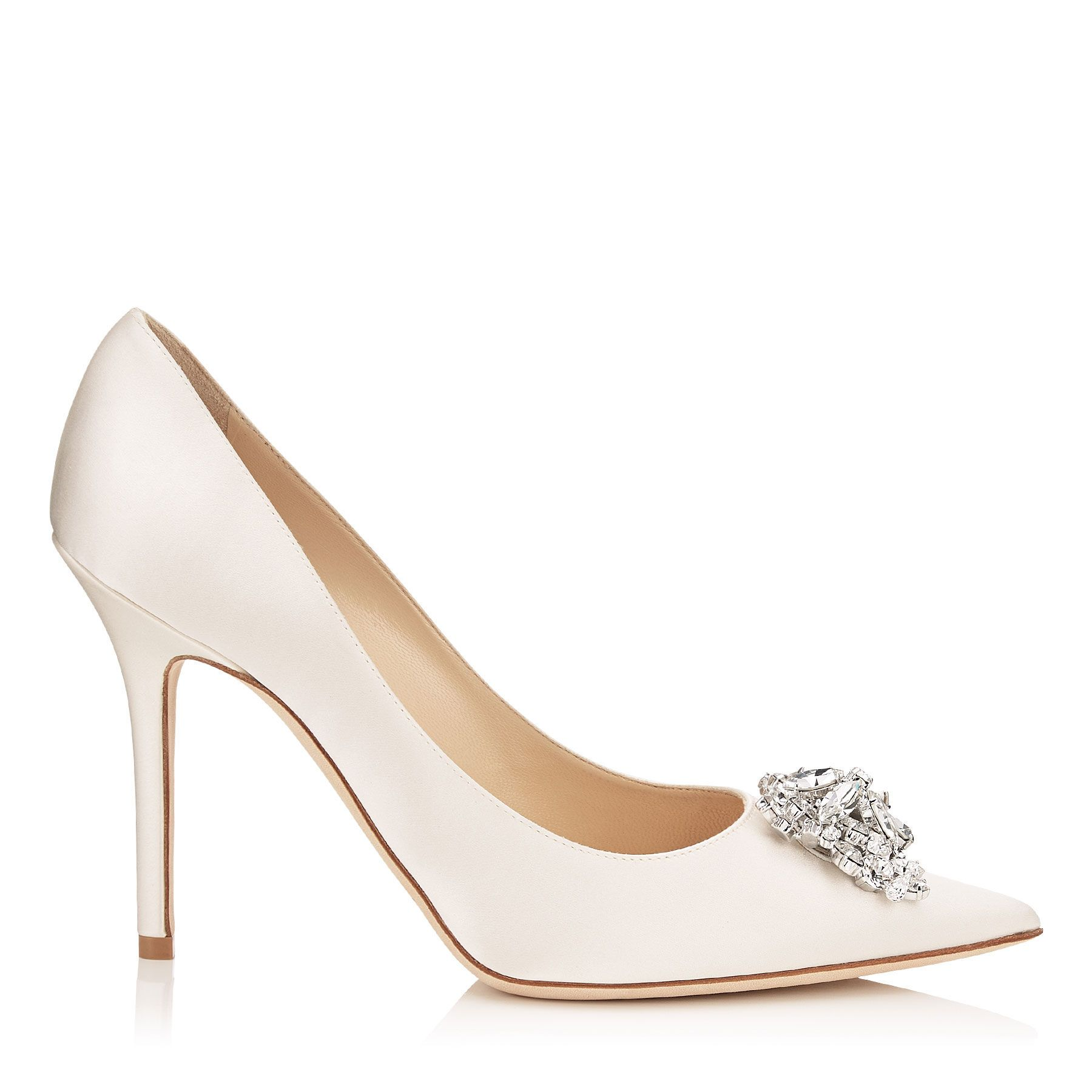 c3dce173d1f0 JIMMY CHOO ABEL Ivory Satin Pointy Toe Pumps with Crystal Detail ...