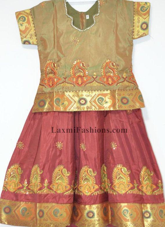 fcc9c18f1df SALE 25% DISCOUNT Kids Baby Maroon Red Embroidred Silk Pattu Zari Lehenga  Golden Brown Silk Blouse Choli - Designer Pattu Langa Pavda Pavada by ...