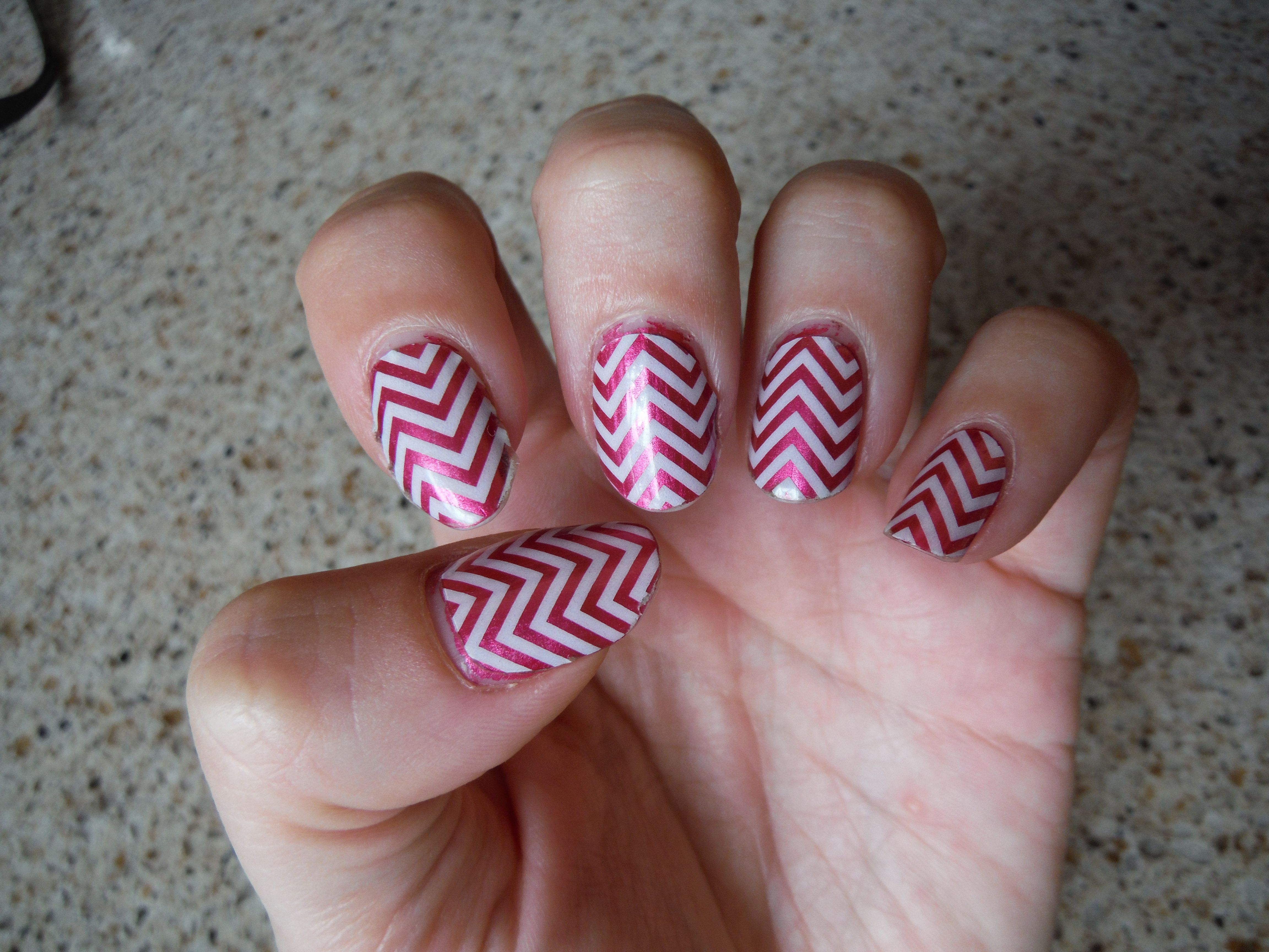 Day 10 of one of my first Jamberry manicures! White Chevron over Razzmatazz lacquer!