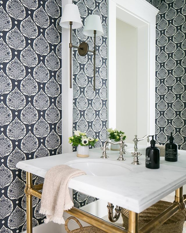 Serena and Lily wallpaper in powder bath Powder room