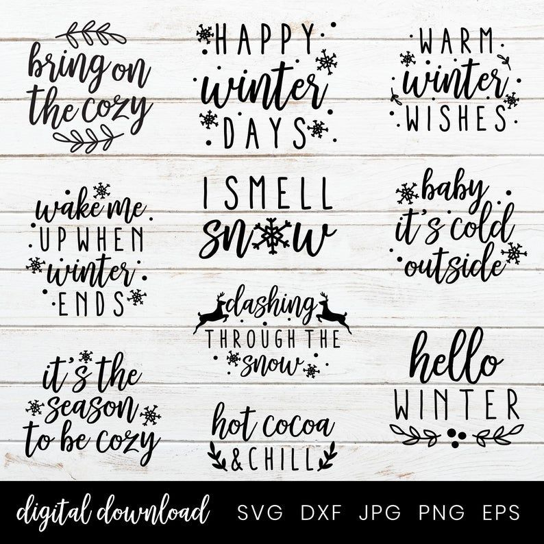 Winter Svg Bundle 10 Svg Winter Quote Pillows Winter Clipart | Etsy