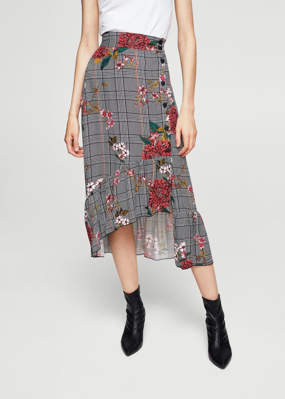 Falda príncipe de gales floral - Faldas de Mujer  bb1f21495c1b