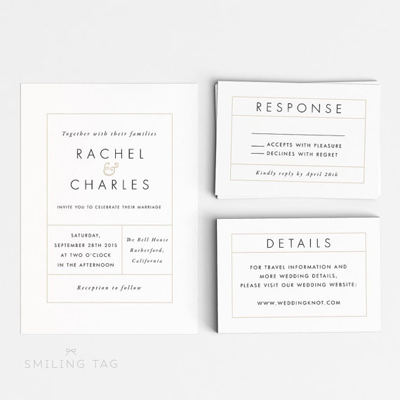 Digital Printable Modern Minimalist Wedding Invitation Set