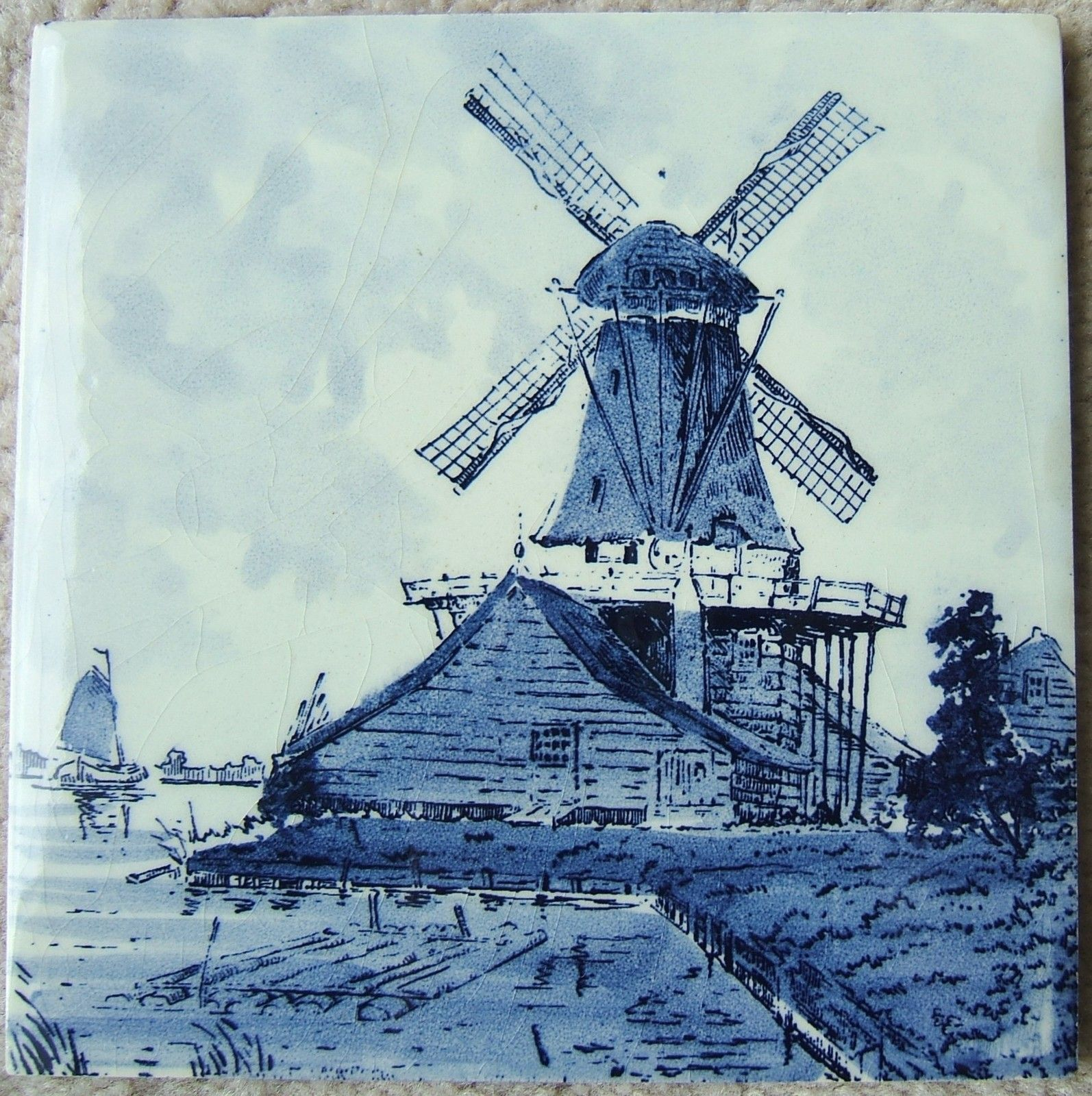 Vintage windmill sailboat seaside ceramic tile delft blue tile vintage windmill sailboat seaside ceramic tile delft blue tile ebay dailygadgetfo Image collections