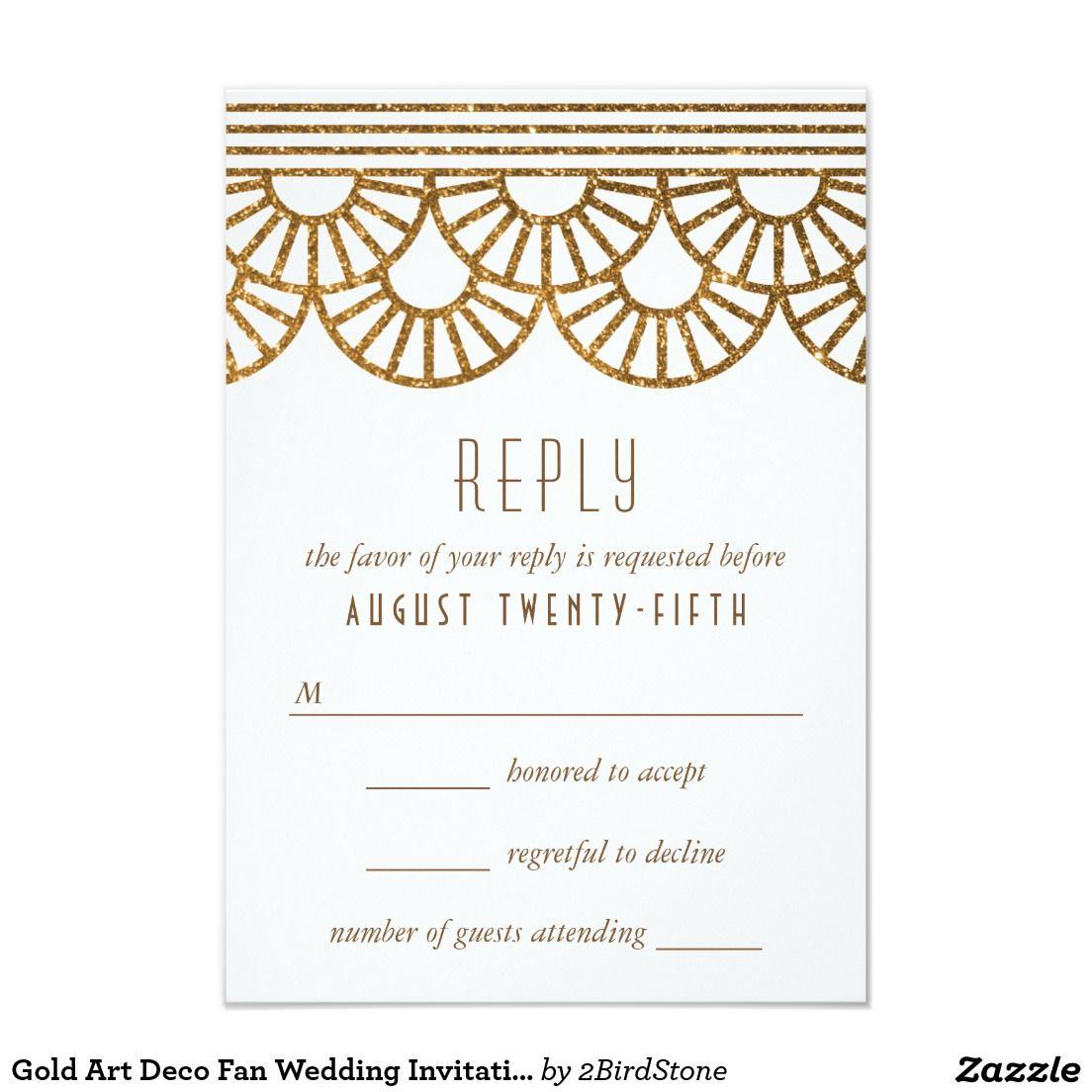 Gold Art Deco Fan Wedding Invitation Reply Card | Gold art, Art deco ...