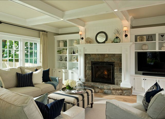 """Interior Paint Color and Color Palette Ideas with PicturesBookshelf Paint Color: """"Sherwin Williams Extra White SW7006″.  Wall Paint Color: """"BM Revere Pewter""""."""