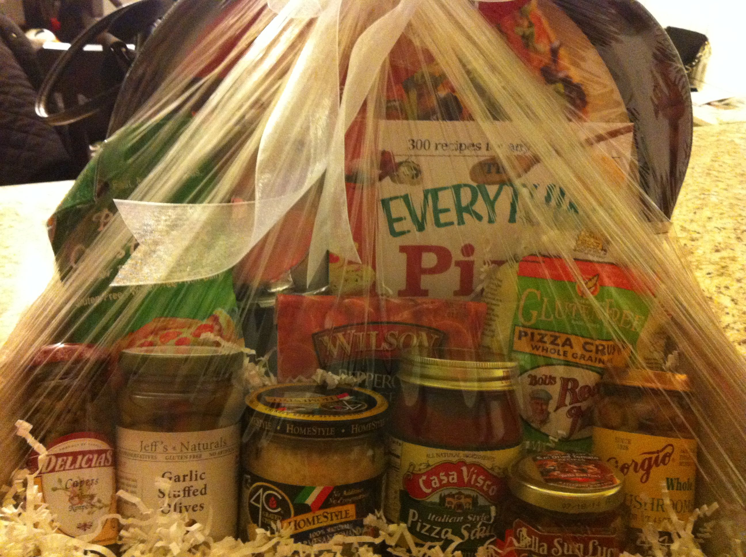 Pizza gift basket for a wedding gift. I was inspired by a