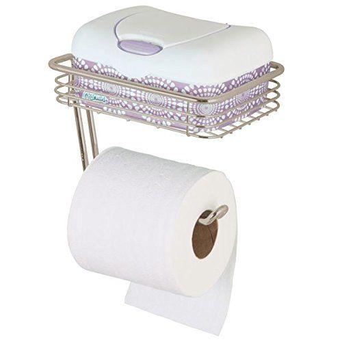 Mdesign Toilet Paper Holder With Shelf For Bathroom Wall Mount Satin Tissue Holder Accommodates O Wall Mounted Toilet Tissue Paper Holder Tissue Paper Roll