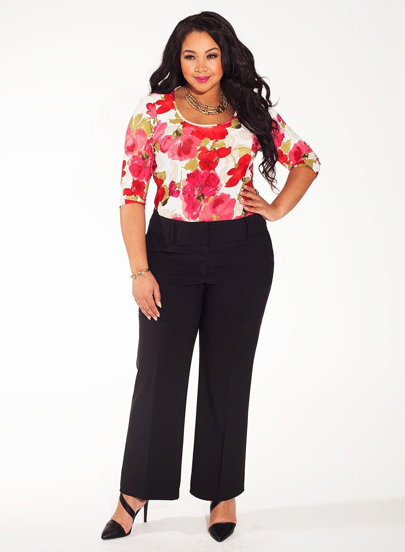 Amanda Pants In Black Model Wearing Size 14 Height 59 Shape