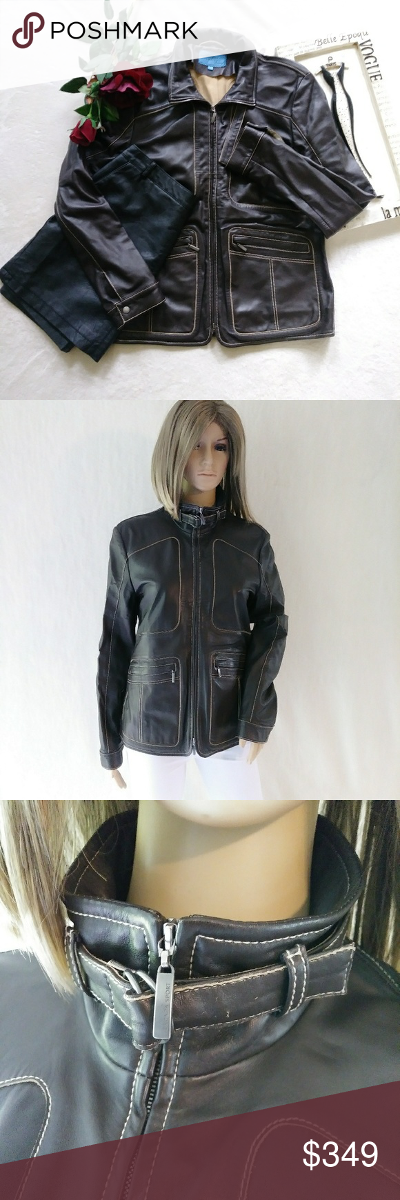 Hp Escada Sport Sz 38 M Brown Leather Jacket Fashion Clothes Design Brown Leather Jacket [ 1740 x 580 Pixel ]
