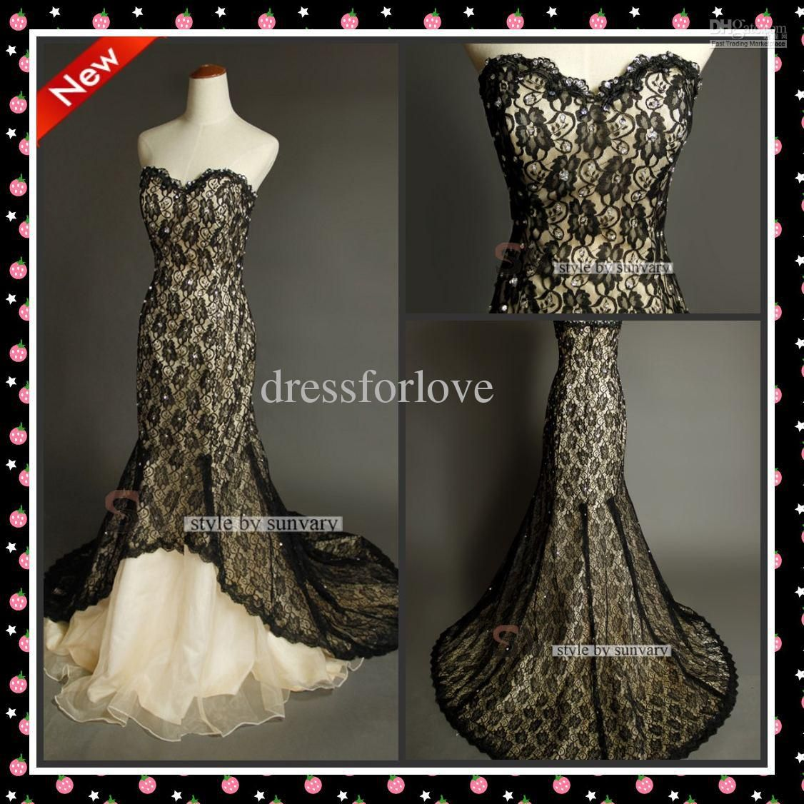 Wholesale Hot Sale Real Image Evening Dress Mermaid Sweetheart Black Lace Court Train Evening Gowns, Free shipping, $145.59-156.79/Piece | DHgate